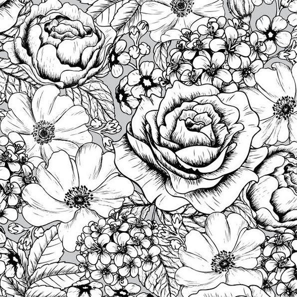 Pattern Intricate Flower Coloring Page