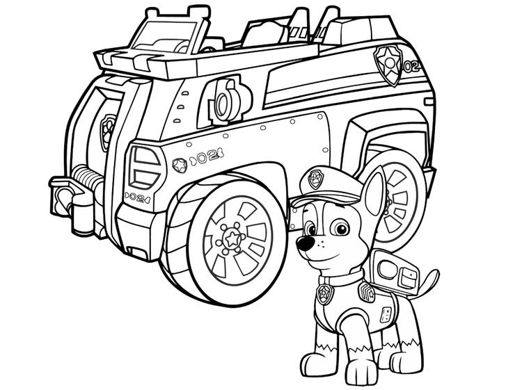 Paw Patrol Coloring Pages Chase Police Car