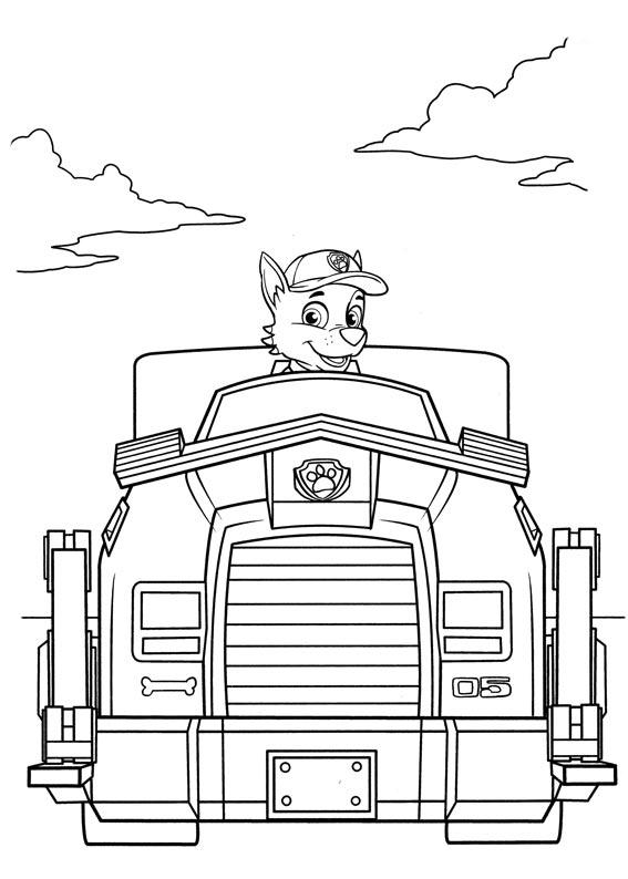 Paw Patrol Coloring Pages Rocky Vehicle
