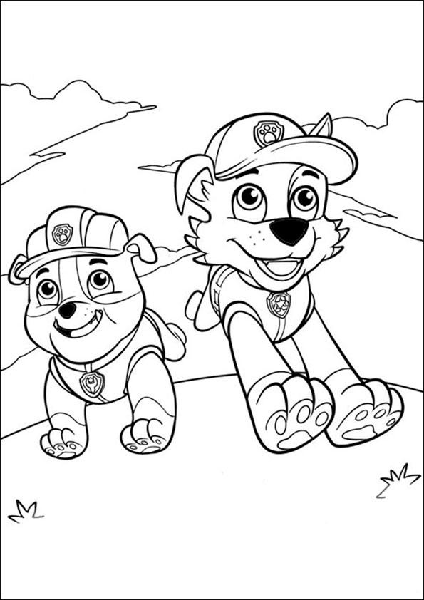 Paw Patrol Coloring Pages Rubble And Rocky