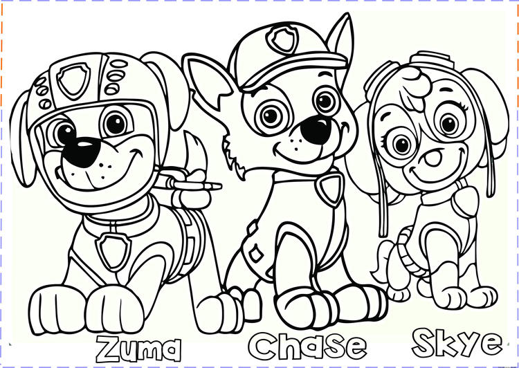 Paw Patrol Coloring Pages Zuma Chase Skye