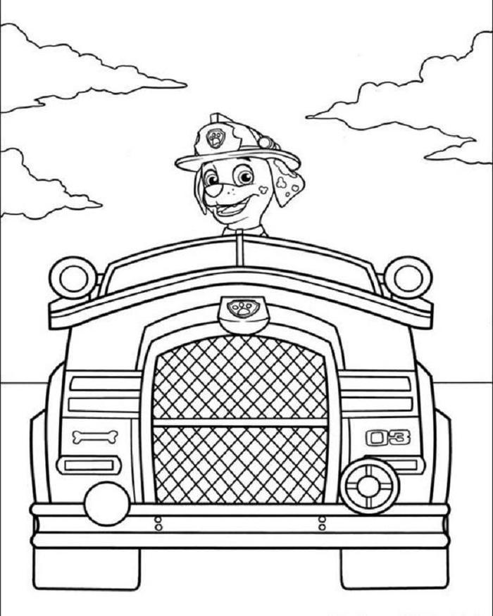 Paw Patrol Fire Truck Coloring Pages