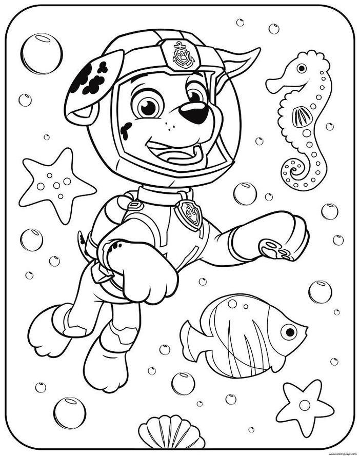 Paw Patrol Underwater Coloring Pages