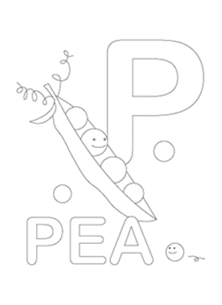 Pea Free Alphabet Coloring Pages
