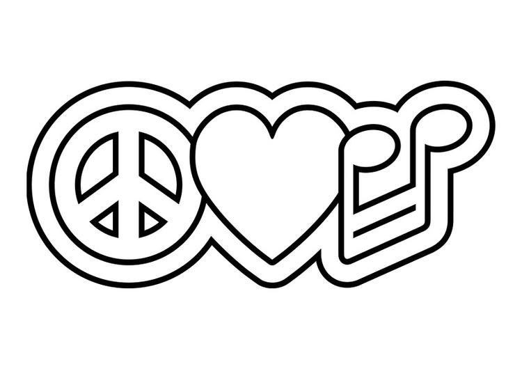Peace Sign Coloring Pages Peace Heart Music