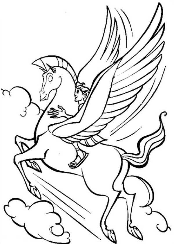 Pegasus Flying High With Hercules Coloring Pages