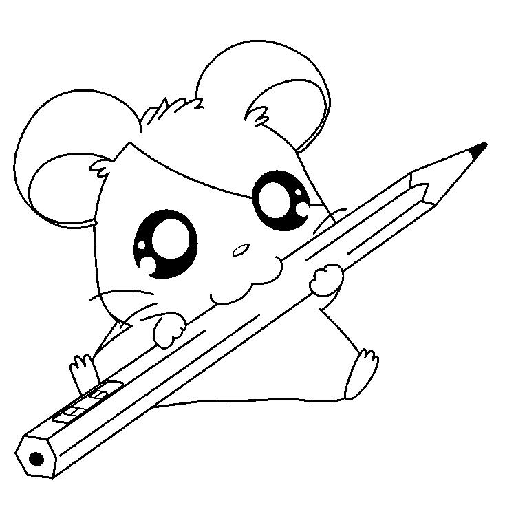 Pencil And Hamtaro Coloring Pages