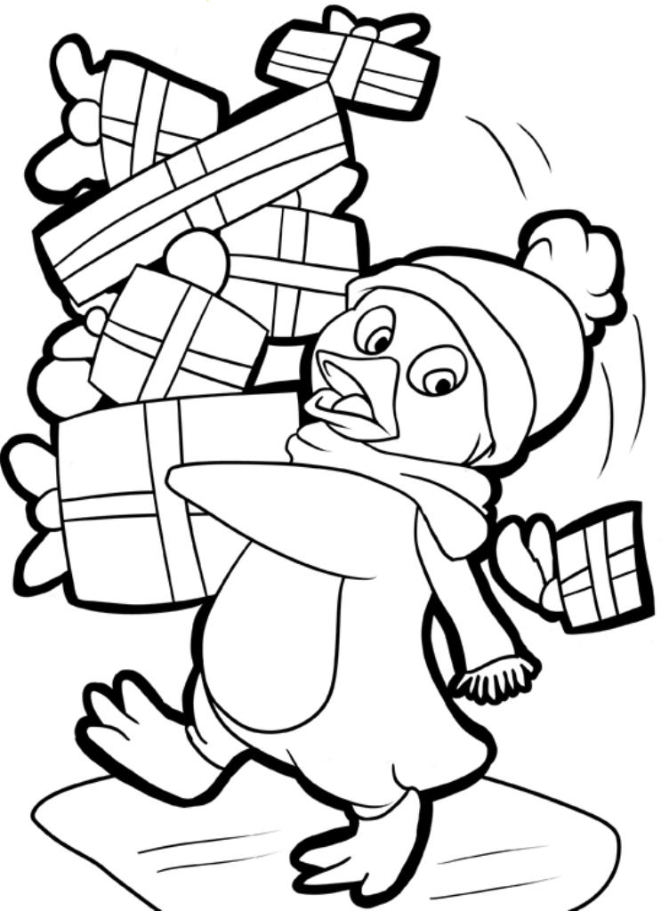 Penguin And Presents Free Coloring Pages For Christmas