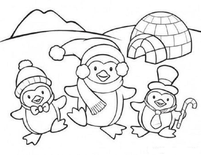 Penguin In Winter Coloring Pages