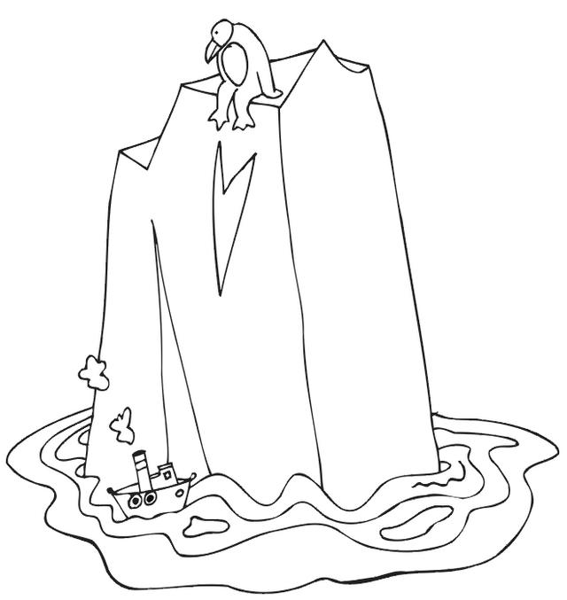 Penguin On Iceberg Coloring Page