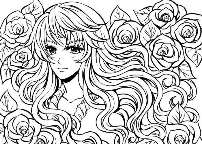 People With Long Hair Coloring Pages