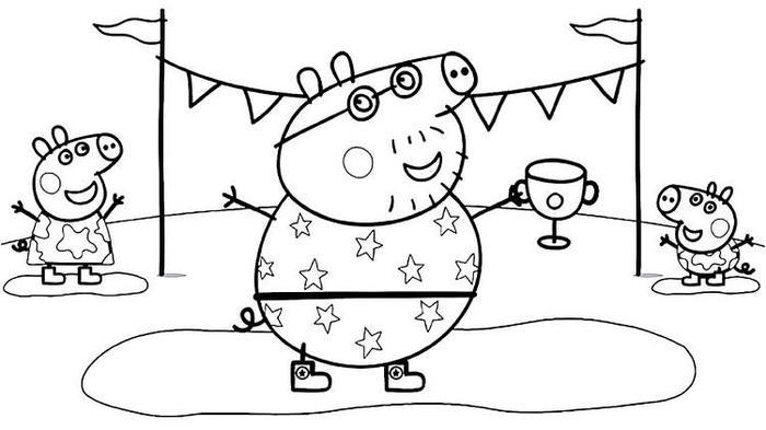 Peppa Pig And Daddy Pig Coloring Pages