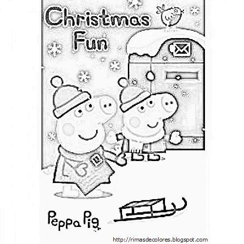 Peppa Pig Christmas Coloring Pages 1