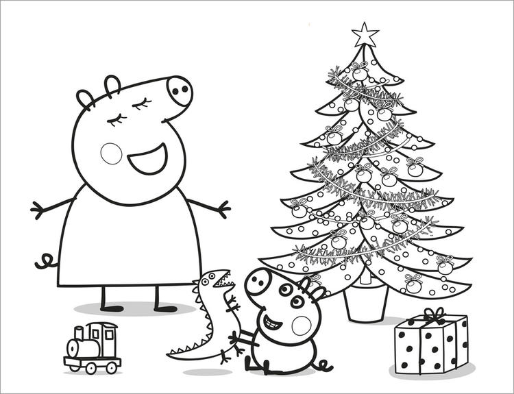 Peppa Pig Christmas Coloring Pages For Kids