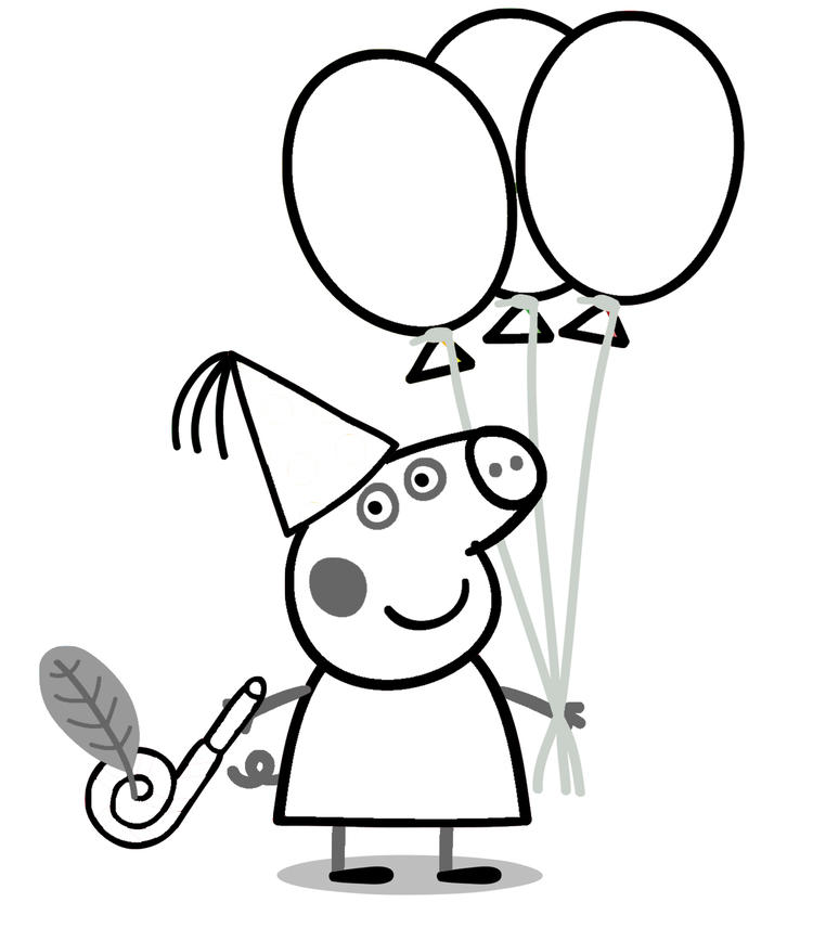 Peppa Pig Coloring Pages Birthday Party