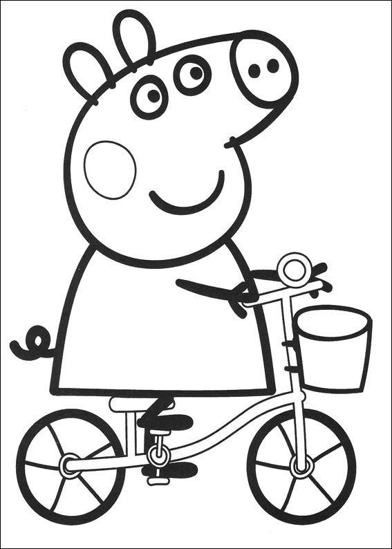 Peppa Pig Coloring Pages Cycling