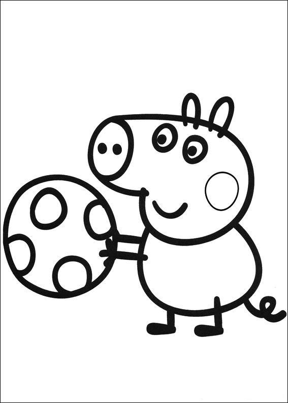 Peppa Pig Coloring Pages George Playing Ball