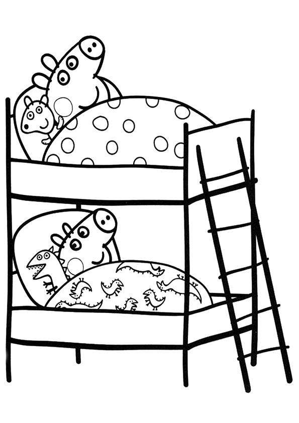 Peppa Pig Coloring Pages Peppa And George Sleeping