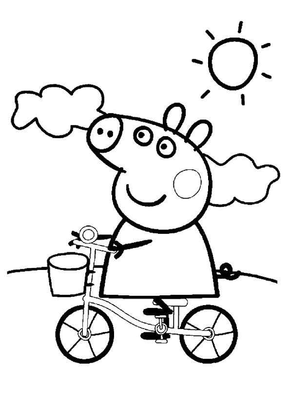 Peppa Pig Coloring Pages Riding Bicycle