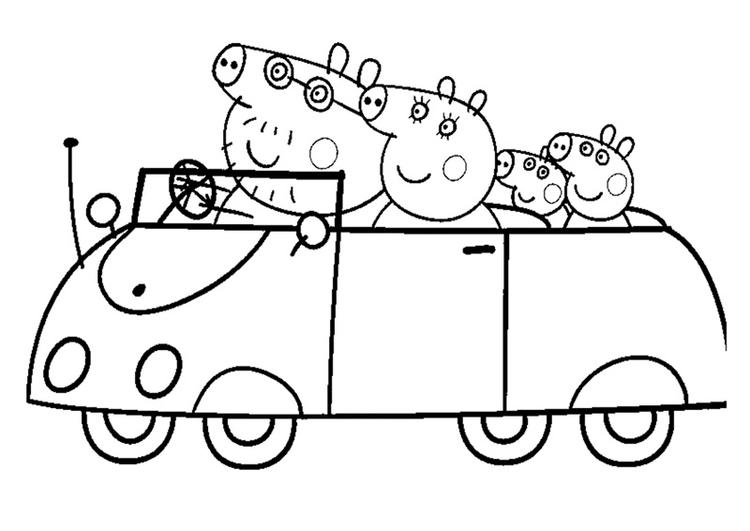 Peppa Pig Coloring Pages Riding Car