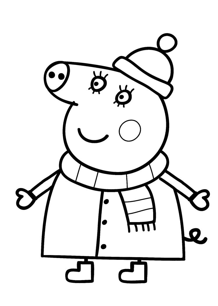 Peppa Pig Coloring Pages Winter Clothes
