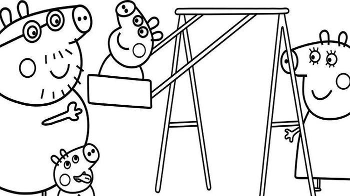 Peppa Pig In Playground Coloring Pages