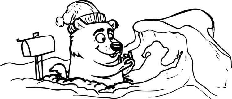 Perfect Groundhog Winter Coloring Page