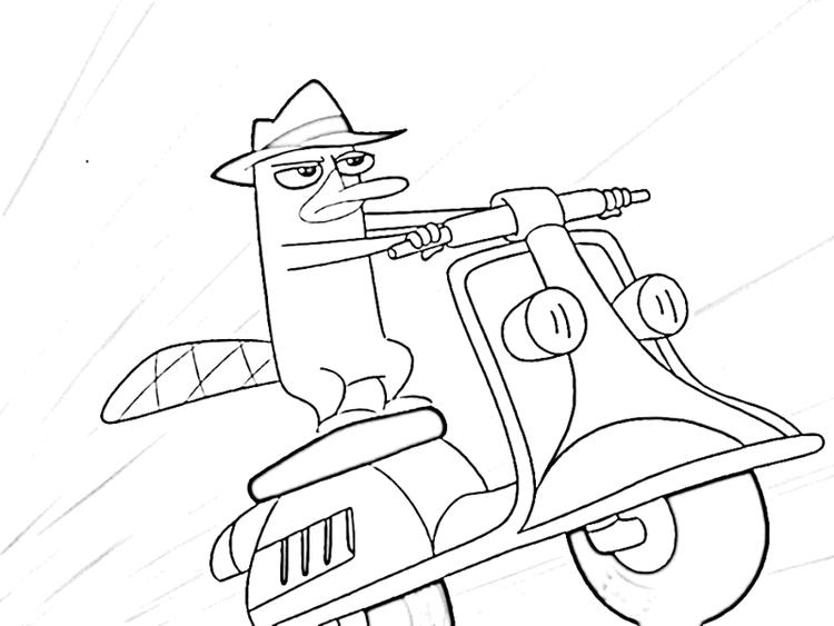 Perry The Platypus Riding A Vespa Coloring Page
