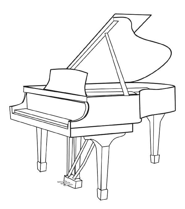 Piano Music Instrument Coloring Pages