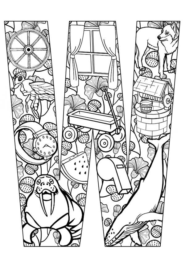 Picture Comes Out From Letter W Coloring Page