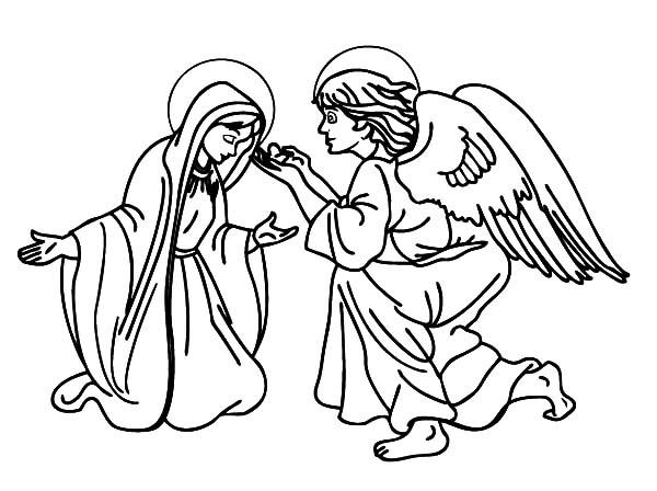Picture Of An Angel Appears To Mary Coloring Pages
