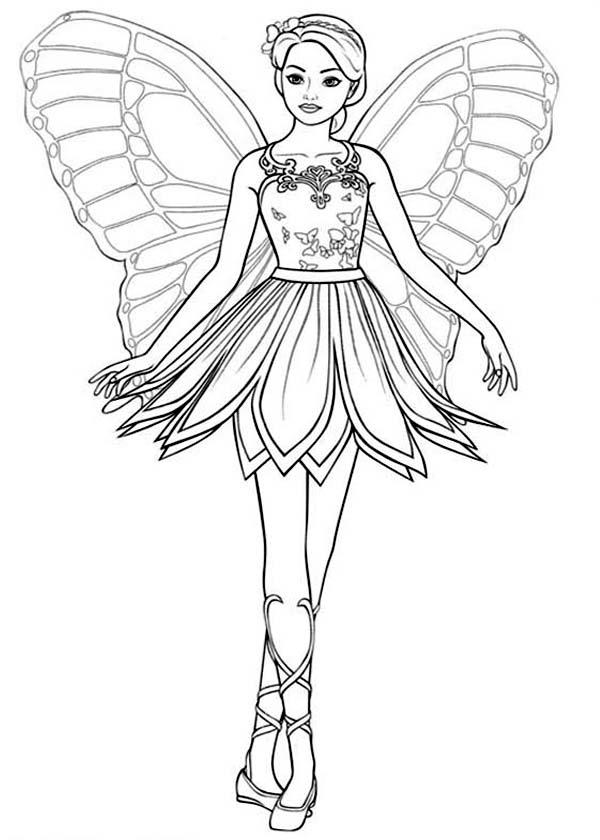 Picture Of Barbie Mariposa Coloring Pages