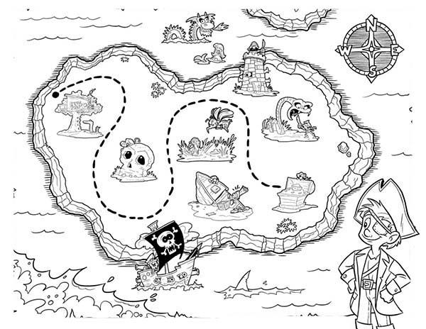 Picture Of Pirate Treasure Maps Coloring Pages
