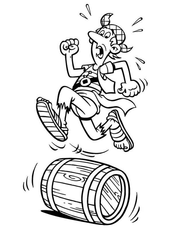 Piet Pirate Crew Steven Stil Running On A Barrel Coloring Pages