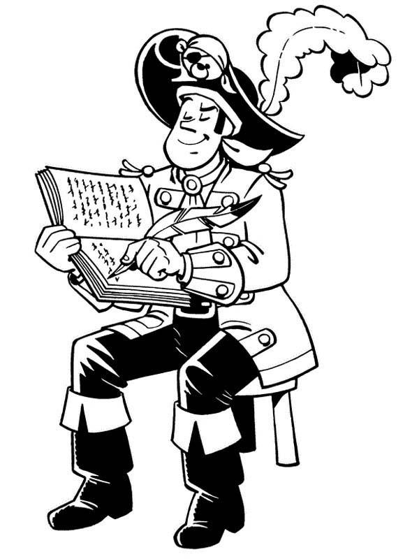 Piet Pirate Making Notes About Their Journey Coloring Pages