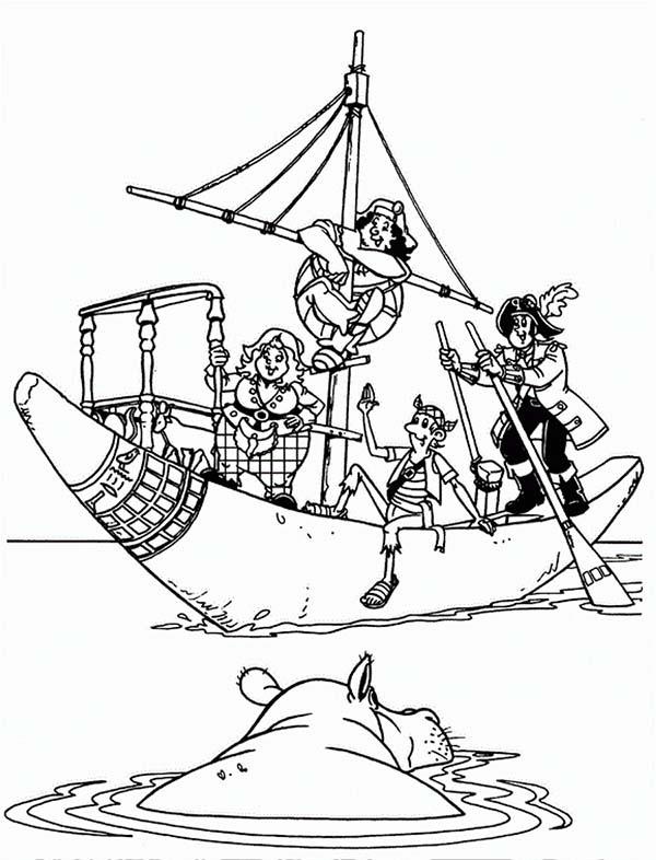 Piet Pirate Saving Hippo Coloring Pages