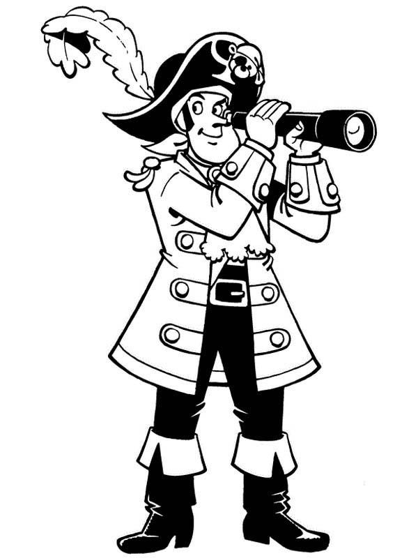Piet Pirate Using Telescope Coloring Pages