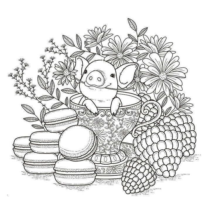 Pig In Tea Cup Coloring Pages