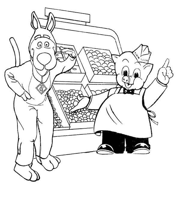 Piggly Wiggly Fruit Seller Coloring Pages