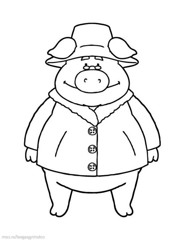 Piggly Wiggly Wearing Leather Coat Coloring Pages