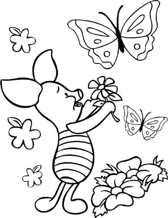 Piglet And Butterfly Coloring Pages