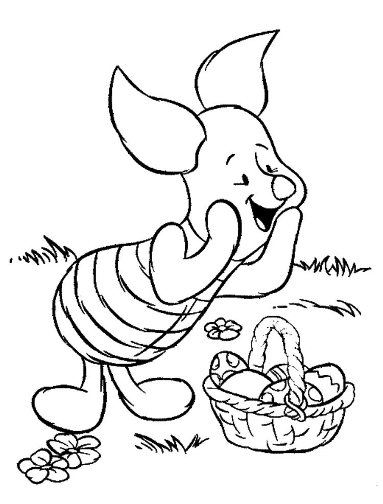 Piglet Pooh And Easter Egg Disney Coloring Page