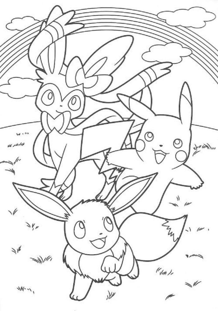 Pikachu And Eeve Coloring Pages
