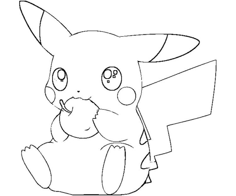 Pikachu Coloring Pages Eating Apple