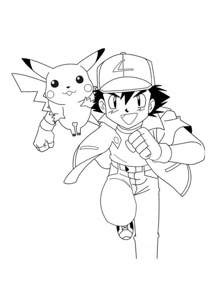 Pikachu Coloring Pages With Ash