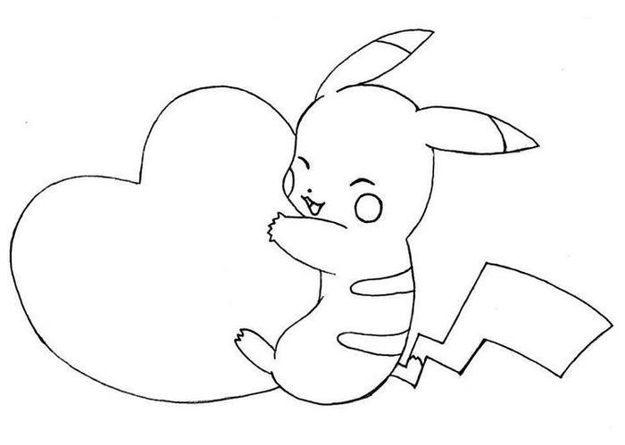 Pikachu Love Coloring Pages