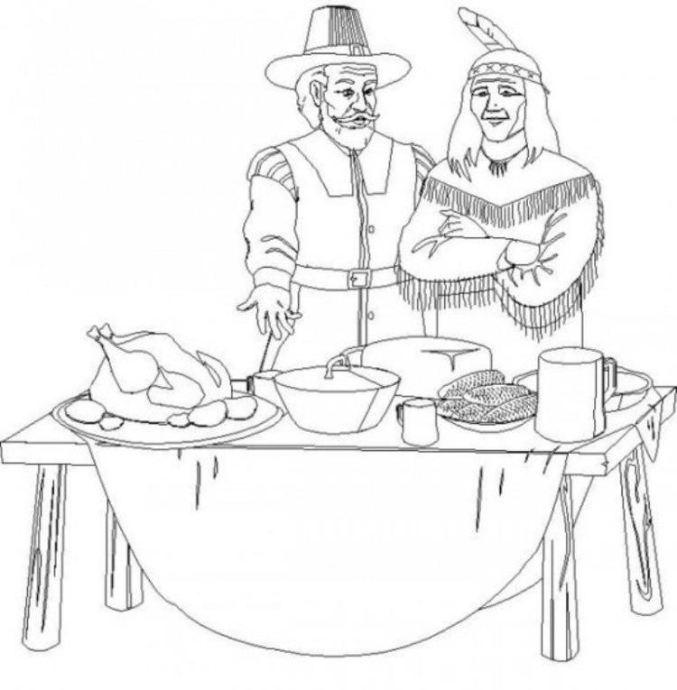 Pilgrim And Indian Thanksgiving Coloring Pages Children