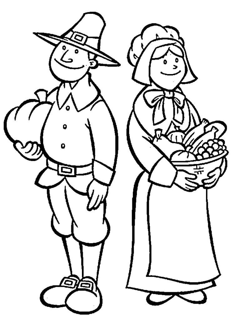 Pilgrim Thanksgiving Coloring Pages To Print