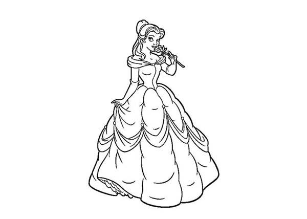 Pincture Of Cinderella Smelling A Rose In Princesses Birthday Coloring Pages