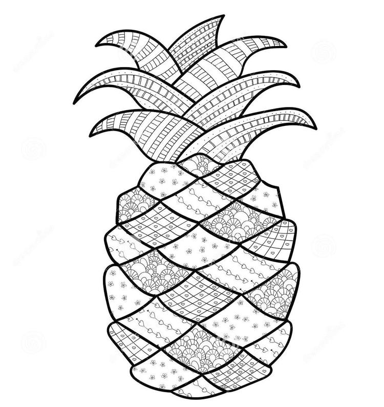 Pineapple Fruit Zentangle Print Out Drawing